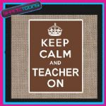 KEEP CALM AND TEACHER ON JUTE  SHOPPING GIFT BAG 001
